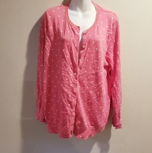 Lands end salmon colored cardigan w/polka dots
